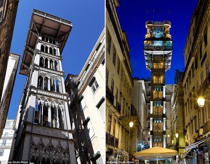 Thang máy có kiến trúc Gothic độc đáo này được thắp sáng vào ban đêm ở thành phố Lisboa.