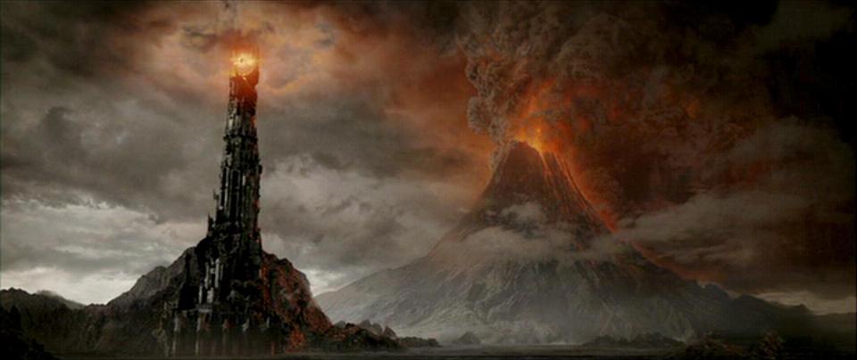 """Khung cảnh núi lửa Doom trong bộ phim viễn tưởng """"Chúa tể của những chiếc nhẫn""""."""