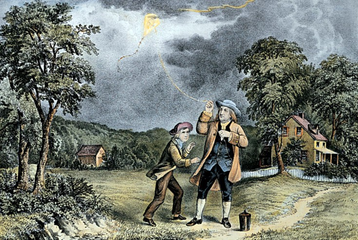 Thí nghiệm với sét bằng một cánh diều rất nổi tiếng của Benjamin Franklin.