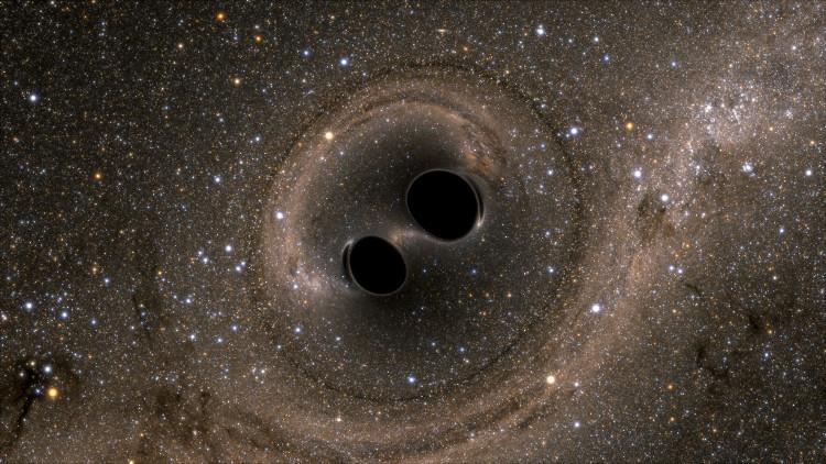 Mô phỏng trên máy tính hai lỗ đen đang sáp nhập thành một.