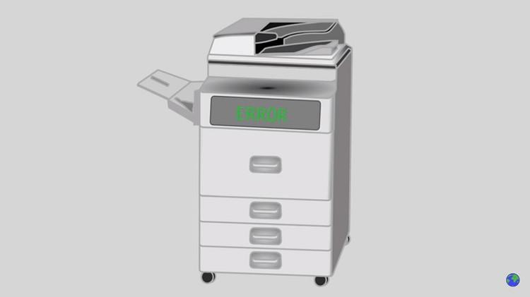 """Máy photocopy """"đầu hàng""""."""
