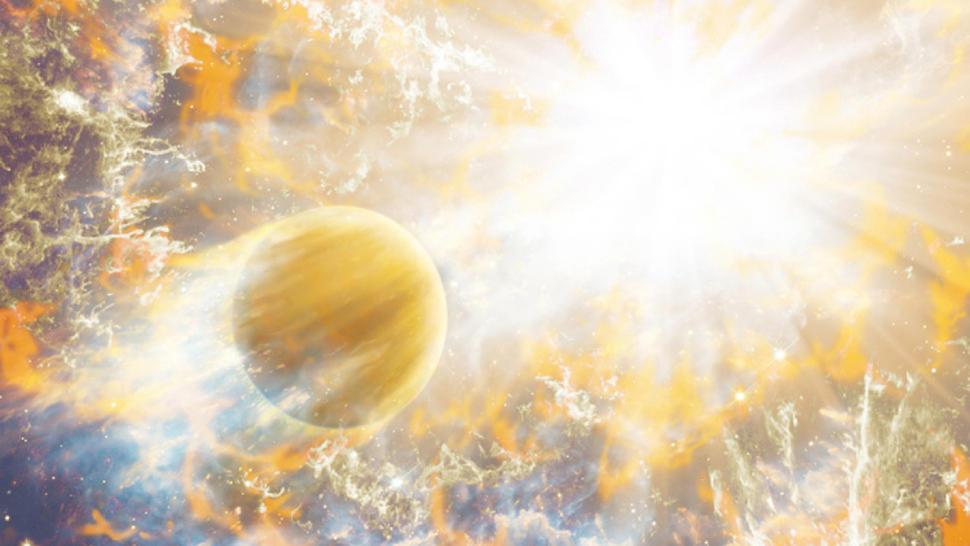 Khi Mặt trời đạt tới kích thước cực đại, nhiệt độ lõi của nó lên tới 100 triệu độ C, và quá trình tổng hợp Heli sẽ diễn ra.
