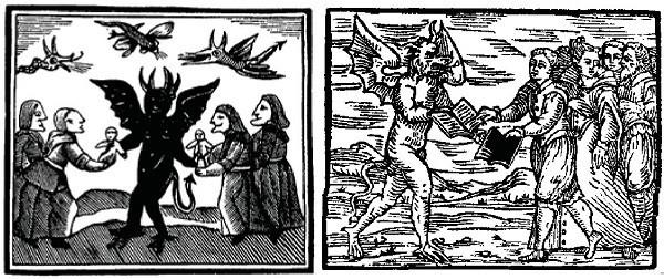 Hình ảnh phù thủy hiện lên trong trang phục phù hợp với thời đại đó, bao gồm khăn trùm đầu và mũ kiểu khác nhau.