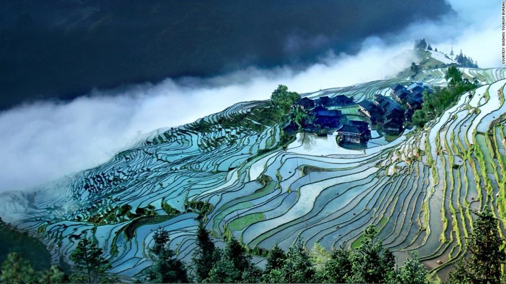 Ruộng bậc thang Jiabang là phương thức canh tác phổ biến ở Quý Châu.