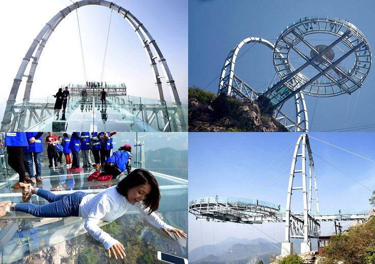 """Cầu kính """"Đĩa bay"""", hẻm núi Sĩ Lâm – Bắc Kinh, Trung Quốc"""