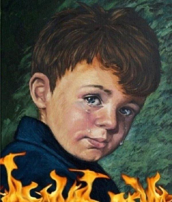 """Một phiên bản của bức tranh """"Cậu bé khóc""""."""