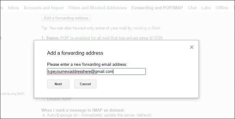 Add a Forwarding address