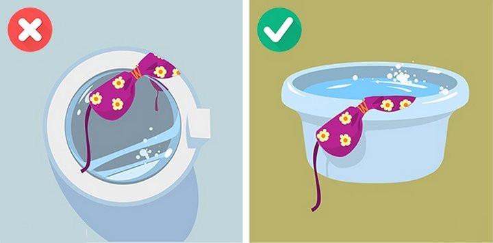 Đồ bơi có độ co giãn nhiều, giặt bằng máy có thể làm đồ bơi gị dão, hỏng.