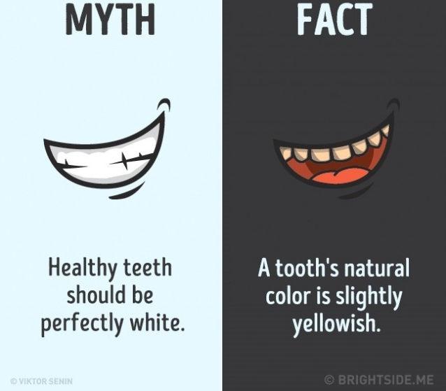 Sự thật là màu sắc tự nhiên của răng là hơi vàng.