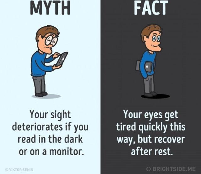 Thị lực của bạn bị suy giảm nếu bạn đọc trong bóng tối hoặc trên màn hình. Sự thật là mắt bạn cảm thấy mệt mỏi nhanh chóng nếu đọc như vậy nhưng sẽ phục hồi sau khi nghỉ ngơi.