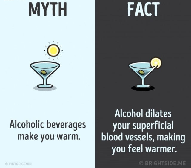 Sự thật là rượu làm giãn nở các mạch máu bề ngoài của bạn khiến bạn cảm thấy ấm áp hơn.
