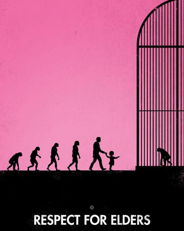 """Con người tiến hoá và đi xem chính tổ tiên mình trong Sở thú - Khẩu hiệu: """"Hãy tôn trọng thế hệ trước"""""""
