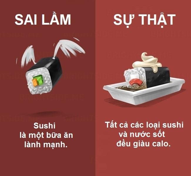 Sushi thường ăn kèm với nước sốt chứa nhiều đường, calo và muối, không tốt cho sức khỏe.