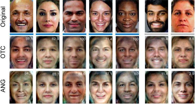 Khuôn mặt nguyên bản (original) và được tái tạo bằng cách đọc thông tin vùng vỏ não occipitotemporal (OTC) và hồi góc (ANG).