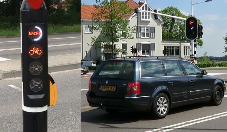 Bên trái: vòng đèn trắng tắt dần cho biết đèn xanh sắp sáng dành cho người đi bộ.
