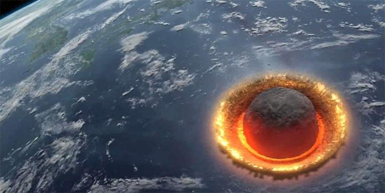 Hình minh họa cảnh 1 thiên thạch va chạm với Trái đất.