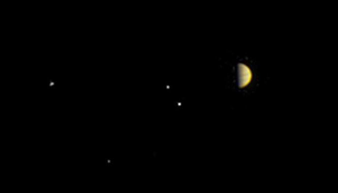 Hình ảnh Mộc Tinh và các mặt trăng của nó do Juno chụp ở khoảng cách 6,8 triệu km.