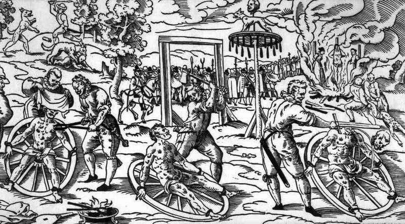 Cảnh hành hình bằng bánh xe thời Trung cổ.
