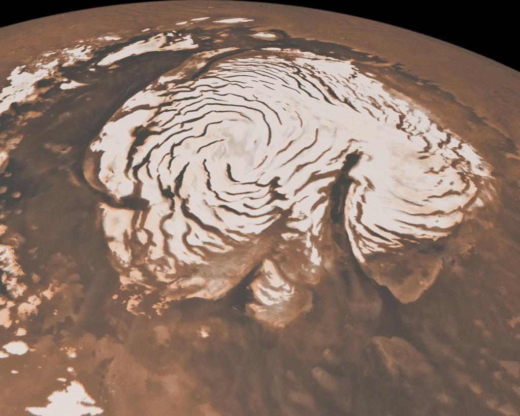 Hình ảnh các chỏm băng vùng cực trên sao Hỏa.