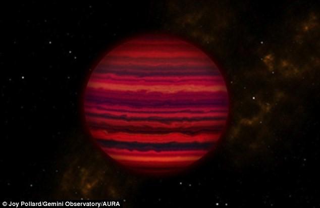 Hình minh họa ngôi sao lùn nâu WISE 0855, nơi có khả năng tạo ra những đám mây nước bên ngoài Thái Dương Hệ. Hình dạng của nó tương đối giống sao Mộc.