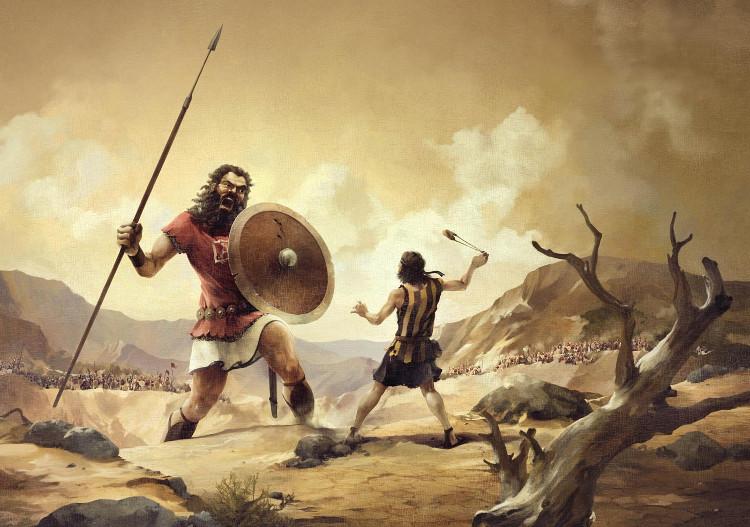 Câu chuyện về cuộc chiến giữa Goliath, chiến binh người Philistine, và Vua David của người Do Thái được nhắc đến trong kinh thánh.
