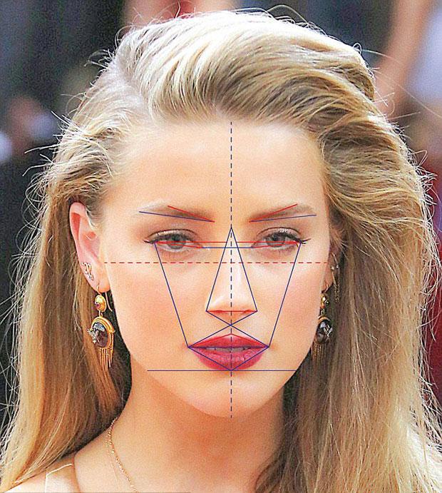 Nữ diễn viên Amber Heard có gương mặt đẹp hoàn hảo.