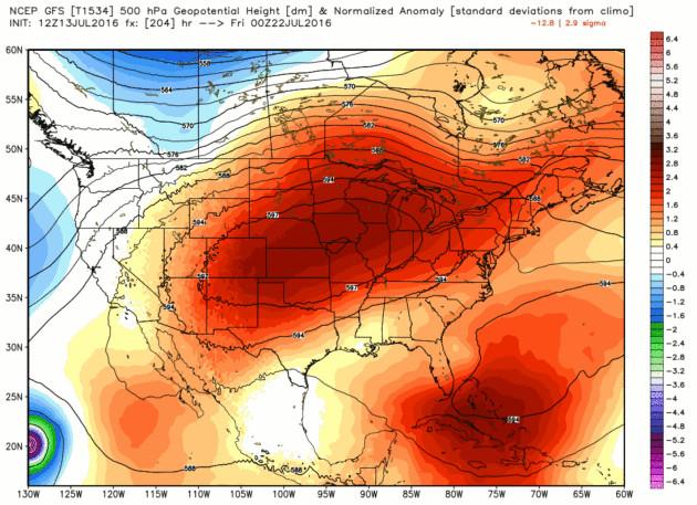 Hình ảnh dự báo vòm nhiệt bao trùm trên khắp nước Mỹ vào tuần tới.