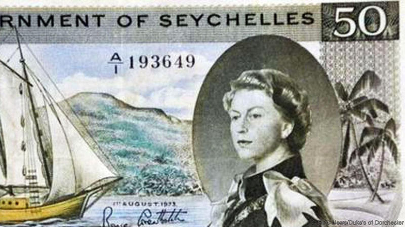 """Tờ 50 rupee của Seychelles, một quốc gia Đông Phi, được cho là in chữ """"sex"""" (tình dục) bằng tán cây cọ"""