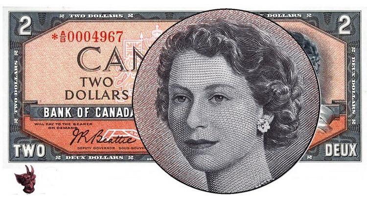"""Tờ tiền 2 đô la Canada in năm 1954 được gọi với cái tên """"đầu quỷ dữ"""" do một phần tóc trong chân dung Nữ hoàng tạo ảo giác như mặt quỷ đang cười."""
