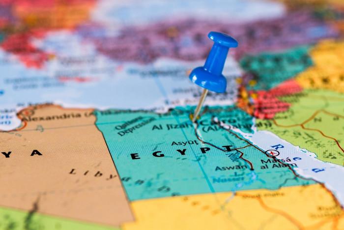 Vị trí của Ai Cập trên bản đồ thế giới.