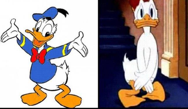 Vịt Donald dùng tay che chắn chỗ bình thường không mặc gì.