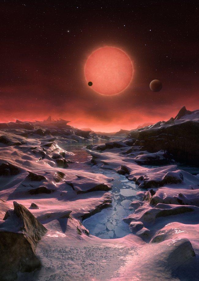 Minh họa góc nhìn khi đứng trên bề mặt một hành tinh thuộc hệ sao Trappist-1.