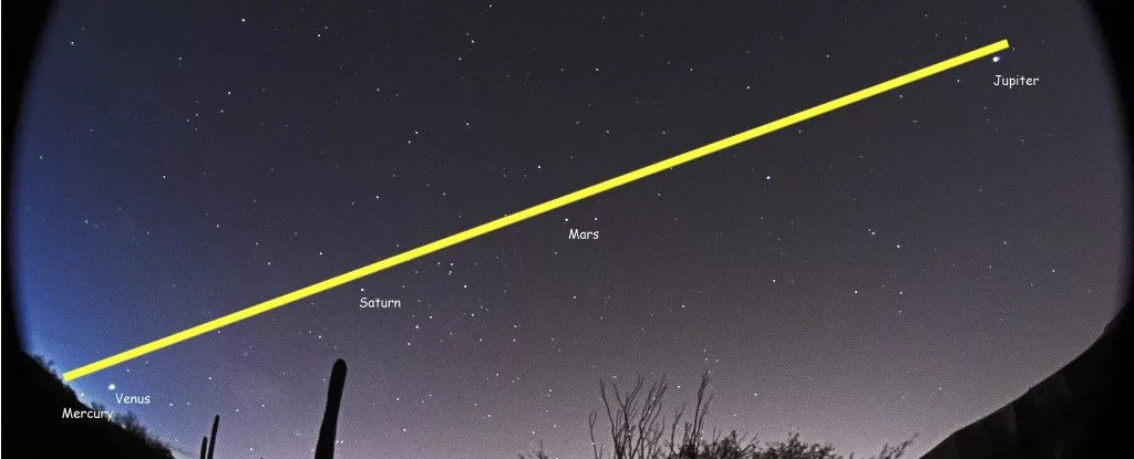 Sao Thủy, Sao Kim, Sao Hỏa, Sao Mộc và Sao Thổ đứng thành một hàng thẳng tuyệt vời trên bầu trời đầy sao