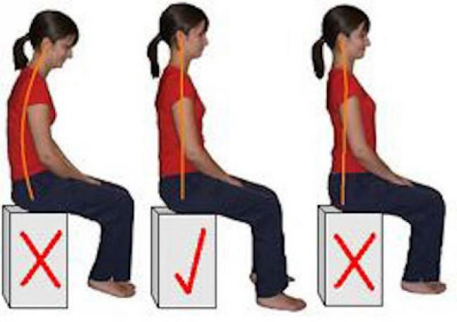 Tư thế ngồi đúng, lưng không quá cong hay quá thẳng