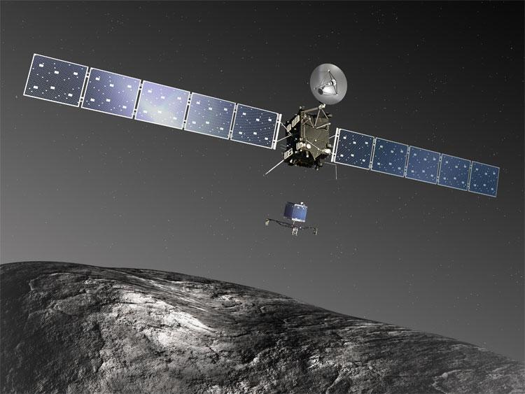 Hình ảnh mô phỏng tàu thăm dò Philae hạ cánh xuống Sao Chổi 67P/Churyumov - Gerasimenko từ phi thuyền Rosetta ngày 12/11/2014.