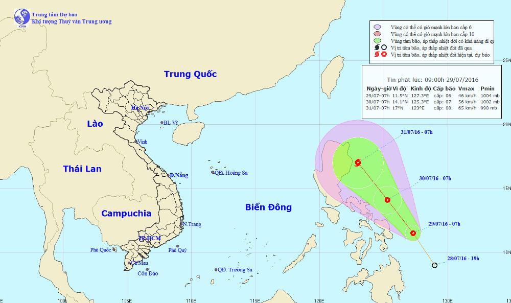 Vị trí và đường đi của áp thấp nhiệt đới.