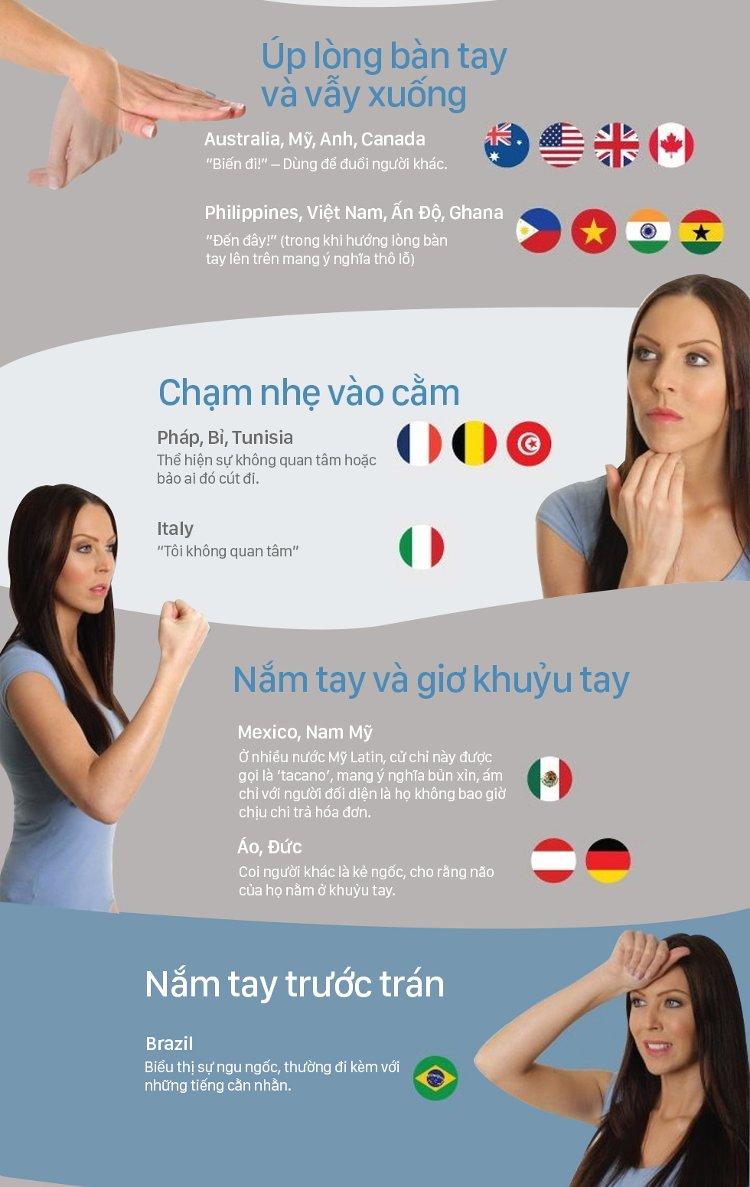Ở Áo và Đức, nắm tay và giơ khuỷu tay có nghĩa coi người khác là kẻ ngốc, cho rằng não của họ nằm ở khủyu tay.