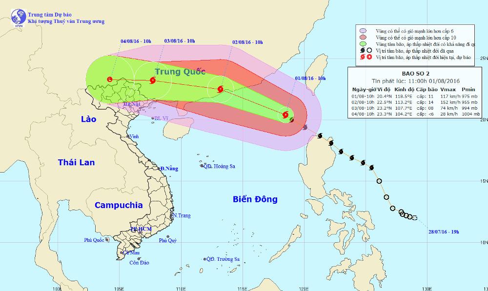 Vị trí và đường đi của siêu bão Nida.