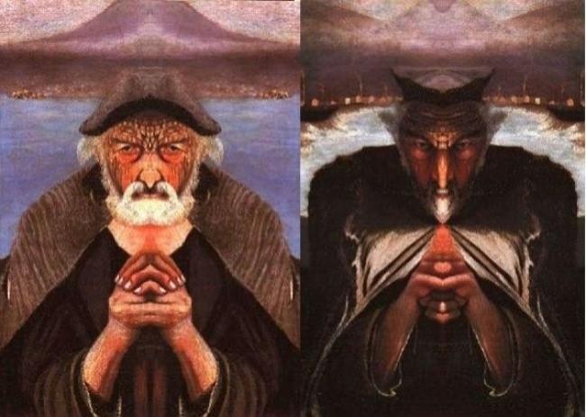 Hai khuôn mặt ông lão đánh cá sẽ biến sắc nếu đặt gương phản chiếu về bên phải.