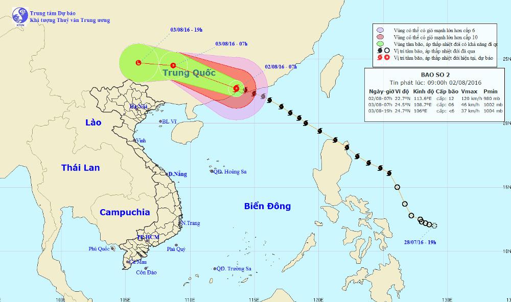 Vị trí của bão Nida.