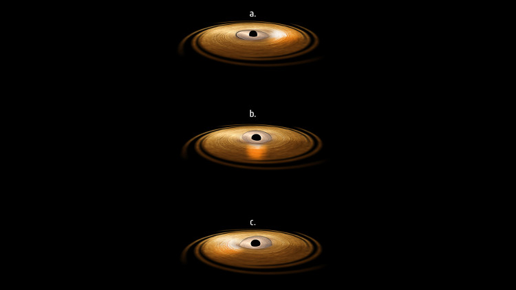 Hình ảnh mô phỏng cho thấy đĩa bồi tụ xung quanh hố đen có phần bên trong đang dịch chuyển.