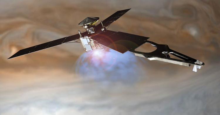 Hình minh họa tàu thăm dò Juno của NASA bay quanh quỹ đạo sao Mộc.