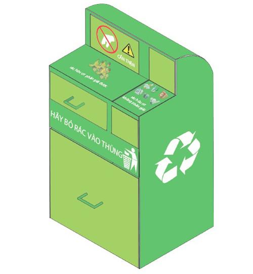 Mô hình thùng xử lý rác sơ bộ của nhóm.