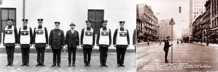 Ngoài việc sử dụng gậy hay những biển chỉ dẫn treo trên các con sào thì cảnh sát thậm chí còn đeo cả đèn trên ngực.