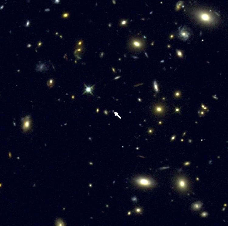 Thiên hà COSMOS-1908 nằm ở giữa hình (mũi tên trắng) cùng với những thiên hà khác ở gần Trái Đất hơn.
