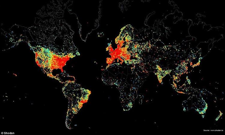 Bản đồ tất cả các thiết bị kết nối Internet trên thế giới.