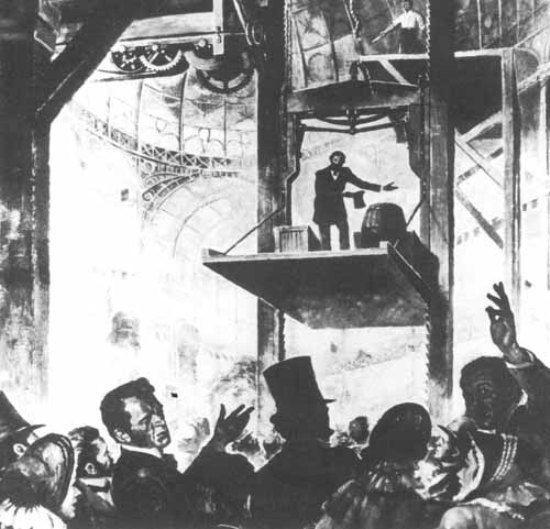 Otis giới thiệu thang máy có phanh đầu tiên tại New York hồi cuối thế kỷ XIX.