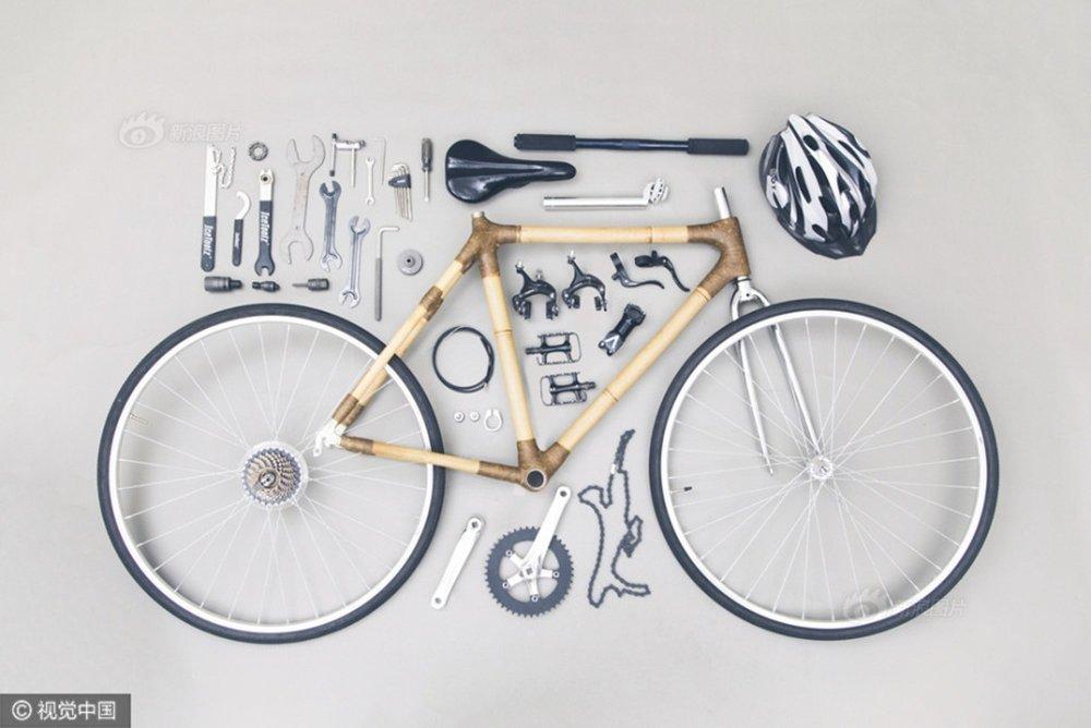 Phần khung và ghi đông của chiếc xe đạp đặc biệt này đều được làm từ tre.