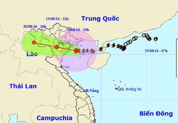 Dự báo đường đi và khu vực ảnh hưởng của bão Dianmu.