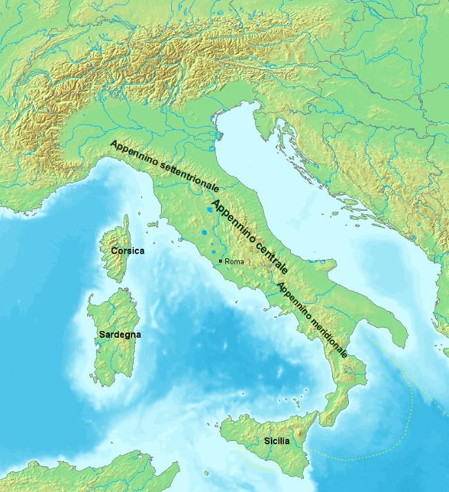 Dãy núi Apennine chạy dọc đất nước Italy.